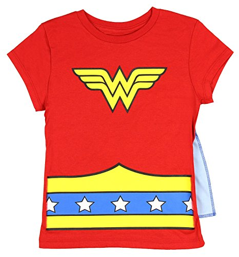 Wonder Woman  Girls Cape Costume Tee Shirt, Large / 10/12