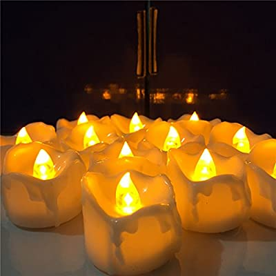 Youngerbaby Amber Yellow Flickering Timing Function Flameless LED Tea Lights Candles with Timer(6 hrs on 18 hrs Off),Wax Dripped Battery Operated Electronic Candles for Wedding, Party and Chirstmas