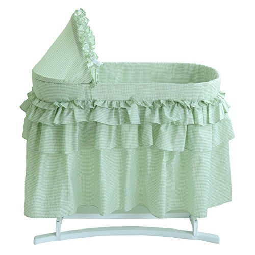 Lamont Limited Bassinet with Full Gingham Skirt, Sage