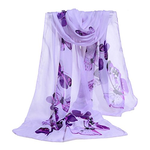 Fashion Accessories Purple (Scarf,Han Shi Women Fashion Butterfly Print Long Scarves Chiffon Soft Voile Wrap Shawl (L, Purple))