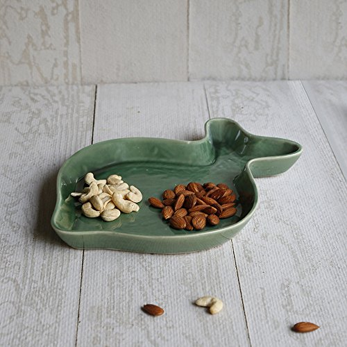 Mothers Day Gift Fish Shaped Ceramic Serving Platter Sushi Shrimp Cheese Appetizer (Green Fish Platter)