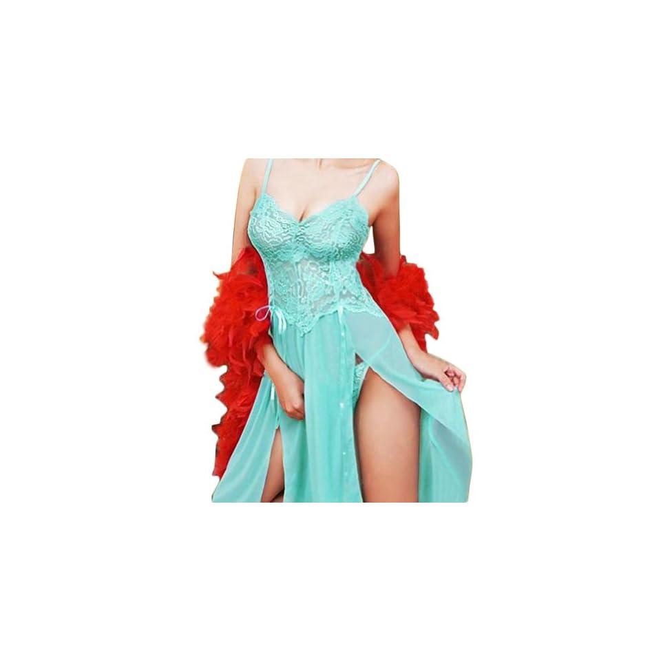 Newest Women Sexy Pajamas Lingerie See through Dress G string Sleepwear (Blue)