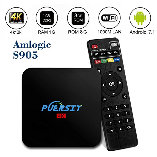 Puersit Android 7.1 TV Box with WIFI Quad Core 4k WIFI Tv Box Amlogic S905 HD 1080P Core-A53 ,H.265