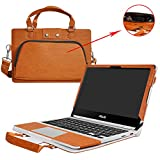 "Asus C302CA Case,2 in 1 Accurately Designed Protective PU Leather Cover + Portable Carrying Bag For 12.5"" Asus Chromebook Flip C302CA C302CA-DHM4 C302CA-DH54 Laptop,Brown"