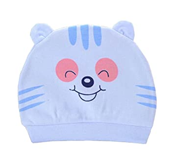 3128a9b6d64 Amazon.com   Set of 3 Cute Baby Hats Infant Caps Newborn Baby Cotton Hat  Tiger Blue   Baby