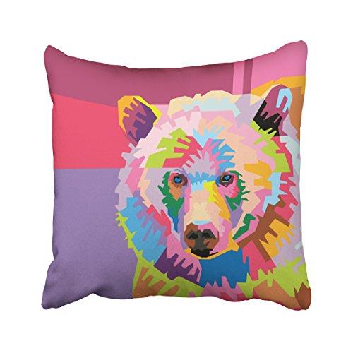 soopat Soft Soild Decorative Square Throw Pillow Covers Set Cushion Case colorful pop art bear portrait for Sofa Bedroom Car 20 x 20 Inch 51 x 51 Cm