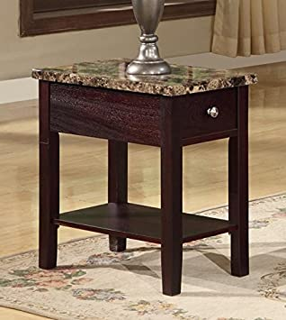 Great GTU Furniture Faux Marble Top Drawer Wood Side/End Table In 3 Colors  (Cappuccino