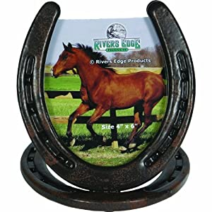 rivers edge horseshoe picture frame brown