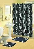 Home Dynamix 316-450 Bath Boutique Poly-Acrylic 15-Piece Bathroom Set, Black