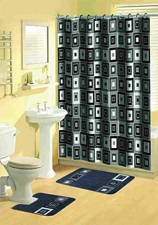 . Home Dynamix Bath Boutique Poly Acrylic 15 Piece Bathroom Set  Black