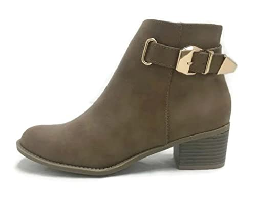 Canopy-1 Women's Buckle Straps Stacked Low Heel Ankle Booties