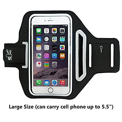 JINBO Universal Sports Armband for Apple Iphone 6 plus / 6 s Plus ( 5.5 Inch ), Waterproof & Sweatproof Running Arm Belt, With a Small Pouch / Holder for Key, Cards, Black