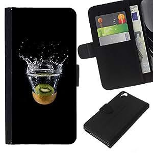 YiPhone /// Tirón de la caja Cartera de cuero con ranuras para tarjetas - MINIMALISTA KIWI SPLASH - HTC Desire 820