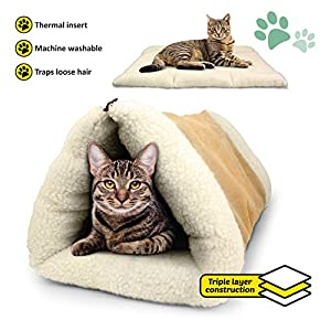 PARTYSAVING PET Palace 2-in-1 Pet Bed Snooze Tunnel and Mat for Pets Cats Dogs and Kittens for Travel or Home, APL1343, Beige 67
