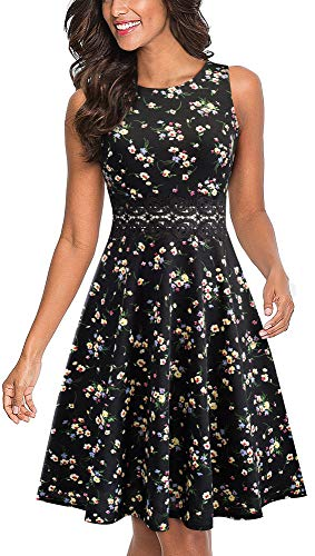 HOMEYEE Women's Sleeveless Cocktail A-Line Embroidery Party Summer Wedding Guest Dress A079(6,Black+Floral)
