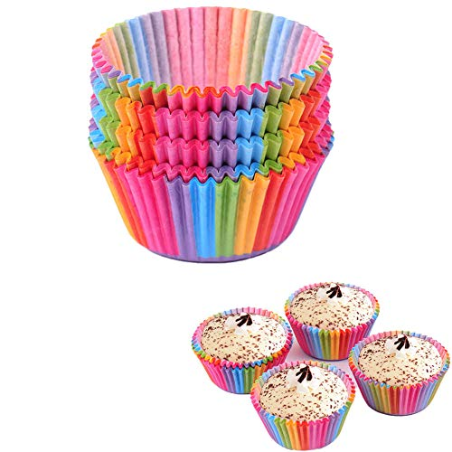 Luckycivia 400 Pieces Standard Size Rainbow Cupcake Paper, Baking Cups Muffin Cups Cupcake Liners.
