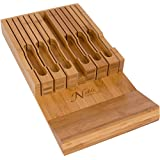 In-Drawer Bamboo Knife Block Holds 12 Knives Without Pointing Up or Sliding Out PLUS a Slot for your Knife Sharpener! Noble home & chef Knife Organizer Made from Quality Moso Bamboo.