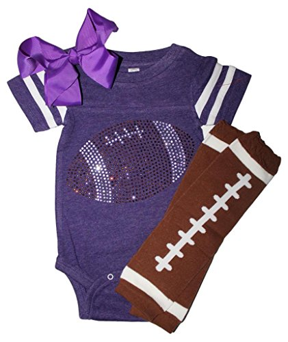 FanGarb Rhinestone Infant Toddler Baby Girls Football Purple Team Color Outfit 12mo
