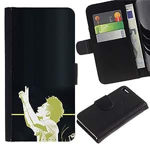 KLONGSHOP // Tirón de la caja Cartera de cuero con ranuras para tarjetas - Fútbol Afro - Apple Iphone 4 / 4S //