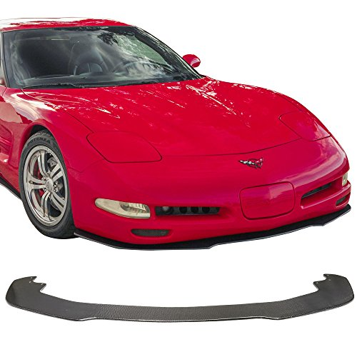Front Bumper Lip Fits 1997-2004 Chevy Corvette C5 All Models | IKON Style Unpainted CF Lip Spoiler Air Dam Chin Protector Add On by IKON MOTORSPORTS | 1998 1999 2000 2001 2002 2003 ()