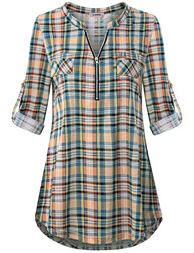 3/4 Tunics for Women, Womans Fashion Clothing Tops Mandarin Collar Zip Up V Neck Rolled Tab Sleeve High Low Hemline Casual Checkered Pattern Printed Long Blouse and Shirts Plaid Yellow M