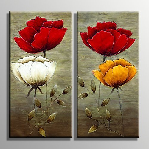 YPY Abstract Poppy Floral Oil Painting - Red white Yellow Flowers Wall Art Prints On Canvas - Plant Artwork Home Living Room Bedroom Office Decoration Stretched and Framed Ready to Hang 2 Panels