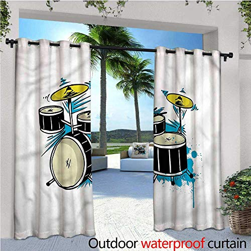 warmfamily Drums Outdoor Blackout Curtains Rock and Roll Concert Drummer Outdoor Privacy Porch Curtains W120 x L108 ()