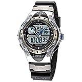PASNEW Men's Watch Analog Digital Dual Time Watch Waterproof Sports Casual Boys Wrist Watches (Silver case)