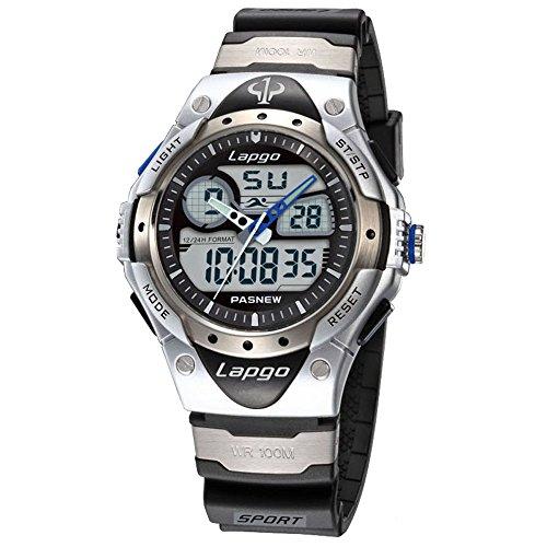 100m Watch Sports (Boys Sports Watch 100M Waterproof Analog Digital Dual Time High Quality Unisex Teens Wrist Watches 388AD Silver)