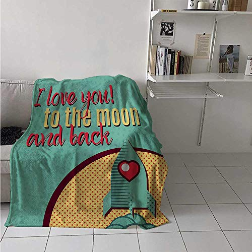 maisi I Love You Throw Blanket Rocket Flying to The Space with Love Fuel Cosmic Journey Illustration Velvet Plush Throw Blanket 60x36 Inch Turquoise Red Mustard ()
