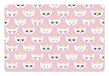 Cat Pet Mats for Food and Water by Lunarable, Princess Kitty Baby Girlish Pattern with Crown and Hat Teenage Years Art Print, Rectangle Non-Slip Rubber Mat for Dogs and Cats, Pale Pink White