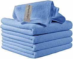 Microfiber Cleaning Cloths, 5 Pack, Blue, All-Purpose Reusable Dust Cloths, Machine Washable