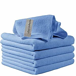 Microfiber Cleaning Cloths, 5 Pack, Blue, Soft Microfiber Dusters, Machine Washable, Lint-Free