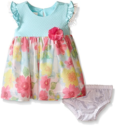 Bonnie Baby Baby Flutter Sleeve Knit To Floral Sheer Print Dress, Aqua, 3-6 Months