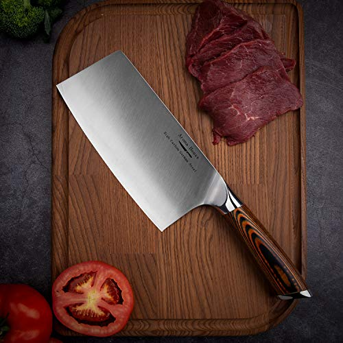 Aroma House Chinese Chef's Knife-7 inch Vegetable and Meat Cleaver Knife, German Stainless Steel Kitchen Knife with Full-tang Pakkawood Handle for Home, Kitchen & Restaurant, Gift Box by Aroma House (Image #8)