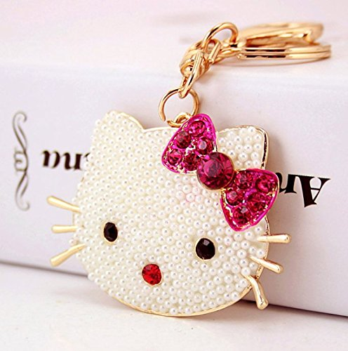 Elfstore Beautiful 3D Luxury Pearl Big Head Bow-knot Hello Kitty New Fashion Key chain Purse Handbag Accessories Comes with Wooden Textured Charms for Good Luck (Knot Key Chain)