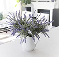 6 Bundle Artificial Flower Purple Lavender Bouquet with Green Leaves for Home Party Decorations