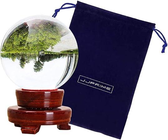 Boule Cristal verre 10cm support bois décoration maison cadeau mariage fengshui