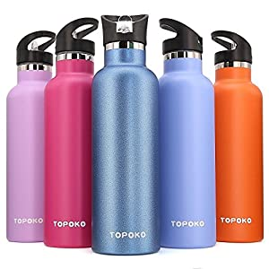 25 OZ Straw Stainless Steel Vacuum Insulated Water Bottle Leak Proof Thermos Hot Cold Double Wall /Small Mouth, Vacuum Seal, Hydration, Reusable, Drink Best Sales-Skyblue Straw Lid