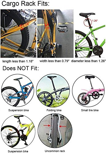 Dirza Rear Bike Rack Bicycle Cargo Rack Quick Release Adjustable Alloy Bicycle Carrier 115 Lb Capacity Easy to Install Black by Dirza (Image #5)