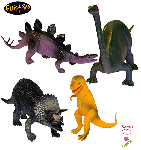 4 Piece Jumbo Vinyl Dinosaur Set, Color Assorted, Kids/Boys Toy, 9 x 13 Inches-Plastic