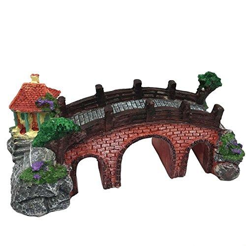 Arch Aquarium Ornament - Saim Resin Arch Bridge w 3 Hole Pavilion Tree Aquarium Decor Fish Tank Landscape Ornament