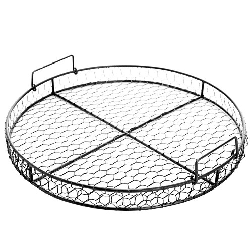 County Rustic Style Chicken Wire Round Metal Mesh Decorative Serving Tray w/ (Black Mesh Coffee Table)