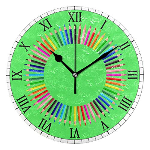 Home Decor Clock Prismatic Chromatic Rainbow Pencil Green Round Style A,Silent Non -Ticking Wall Clock, Battery Operated Art Decorative for Kitchen,Living Room,Kids Room and Coffee Decor (10 Inch) ()