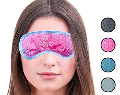 Hot or Cold Medical Eye Mask - Reusable Compress For Puffy, Swollen, Dry or Itchy Eyes and Migraines - Microwave or Freeze - Pink - by Optix 55