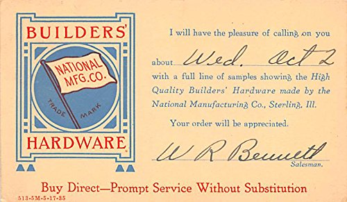 Builders Hardware Advertising Postcard