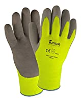 Tucker Safety Y9239TM Products Tucker Hi-Vis Cut Resistant Freezer Glove, Synthetic Knit shell, Sandy Latex Palm, Brushed Fleece Liner, Medium, Green/Gray (Pack of 12)