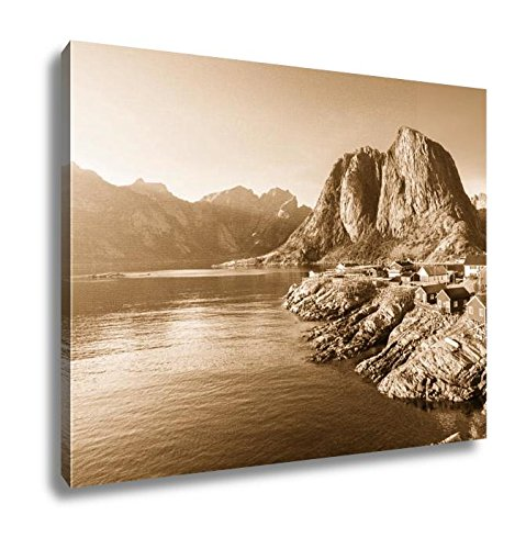 Ashley Canvas Fishing Hut In The Hamnoy Reine Lofoten Islands Norway, Wall Art Home Decor, Ready to Hang, Sepia, 16x20, AG6047203 by Ashley Canvas