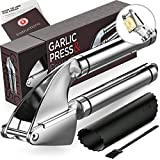 Alpha Grillers Garlic Press and Peeler Set. Stainless Steel Mincer and Silicone Tube Roller