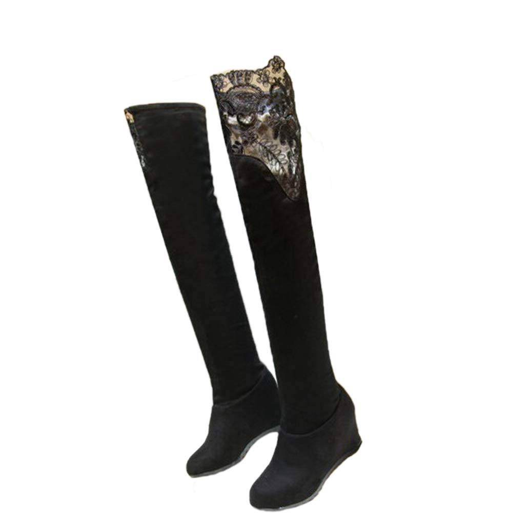 a436b2f5046 Amazon.com  ODOKAY Winter Sexy Boots Knee Elastic Stretch Tube Height  Increased Boots Lace Thigh High Fashion Long Snow Boot  Sports   Outdoors